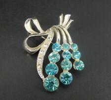 Vintage Blue Stones Clear Rhinestone Silver Plate Brooch Pin