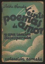 Pablo Neruda Book Veinte Poemas De Amor 1940 Cometa