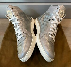 Gucci Men's Guccissima GG Supreme High Top Sneakers Sz 8.5 G = US 9.5 *Authentic