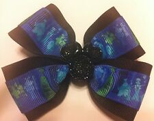 """Girls Hair Bow 4"""" Wide The Haunted Mansion Black Minnie Flatback French Barrette"""