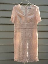 Lovely by ADRIANNA PAPELL Pink Blush Lace Dress Sz 12