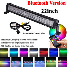 22inch Led Light Bar Spot Flood Combo with RGB Halo Color Change Chasing Strobe