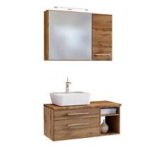 Badmöbelset Waschtisch mit Aufsatzbecken Spiegelschrank Hängeschrank wotan eiche