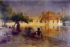 Oil painting edwin lord weeks - the golden temple, amritsar with people canvas