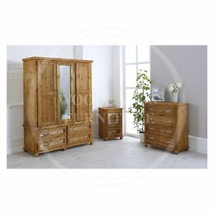 HANDMADE SOLID PINE ROMAN 3 PIECE BEDROOM SET, MANY COLOURS (ASSEMBLED)