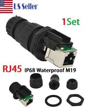 Waterproof IP68 Ethernet RJ45 Panel Mount Pass-Through Connector Socket CAT5-6E