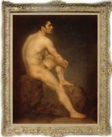 "Old Master-Art Antique Oil Painting Portrait male nude on canvas 24""x36"""