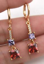 18K Gold Filled Earrings Ruby Amethyst Gemstone Square Topaz Eardrop Dangle Lady