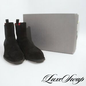 SOLID Alexander McQueen Italy Black Suede Red Lined Chelsea Boots Shoes 45 NR