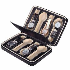 NEW Luxury Faux Leather travel watch case display roll storage organiser Gift