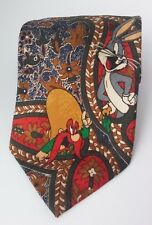 Looney Tunes Classics Paisley Necktie Warner Brothers Red Gold Multi Floral Taz