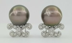 18k White Gold 10mm South Sea Pearls & 0.24 ct Diamond Earrings 7.3grams $2,500