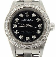 Ladies Rolex Stainless Steel Oyster Perpetual No-Date Watch Diamond Black 76080