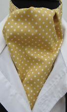 Mens Mustard & Cream Pin Dot Cotton Ascot Cravat & Pocket Square - Made in UK