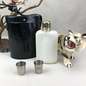 Herz Vintage Leather Flask Holder Case with Shot Glasses Made in England