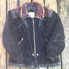 Vtg Black Velvet Puffy Jacket Sz M 80s 90s Womens