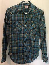 Vintage MILLER Ride Em Cowboy Boys Size 16 Pearl Snap Western Shirt Blue Plaid