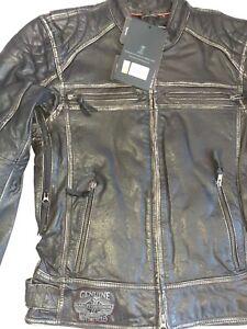 Harley-Davidson 97004 Slim Fit Buffalo Hide Washed Black Leather Jacket Size S