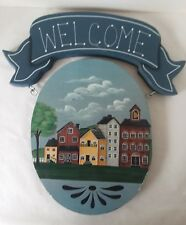 """Hanging Wood Swinging Porch Sign Welcome Home Town Blue 13 1/4"""" x 12"""""""