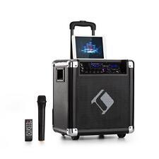 Mobile DJ PA Anlage Karaoke Lautsprecher Akku Box Mikrofon USB SD Bluetooth AUX