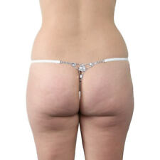 Sexy White Sheer G String Women's Underwear Panties Gemstones Elegant Plus Size
