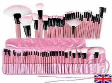 Prof 32 Pcs Make Up Brush Set and Cosmetic Brushes in Faux Leather Case PINK