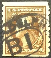 1912 4c Washington regular issue coil single, Scott #395, Used, F-VF
