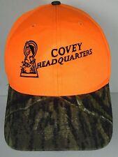 COVEY HEADQUARTERS Quail Habitat Advertising CAMOUFLAGE HUNTING ORANGE Hat Cap