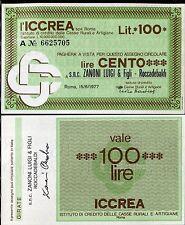ICCREA 15/6/1977 ZANONI LUIGI & FIGLI - ROCCADEBALDI  L.100 FDS