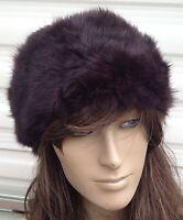 dark brown real genuine rabbit fur pelt ear warmer headband unisex hat