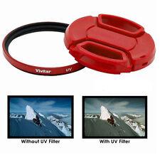 Vivitar 58mm UV Filter and Snap On Lens Cap  RED For Digital SLR lens Samsung +