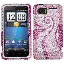 For AT&T HTC Vivid Crystal Diamond BLING Hard Case Snap on Phone Cover Pink Tail
