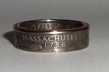 """""""Sealed"""" MASSACHUSETTS US STATE QUARTER handmade coin ring or pendant size 4-14"""