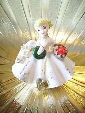 RARE VTG Lefton December Christmas Birthday Girl Angel Figurine w HANG TAG MINT