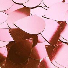 "Pink Shiny Metallic Sequins Teardrop 1.5"" Large Couture Paillettes"