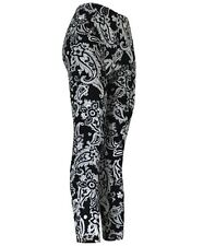 Black and White Paisley Ladies Footless Printed Leggings Active and Casual Use