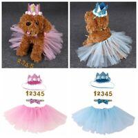Pet Puppy Small Dog Mesh Tutu Skirt Dress Bowtie Collar Crown Hat Birthday Party