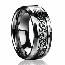 Lianzhi Men's 8mm Silvering Celtic Dragon Stainless Steel Ring Mens Jewelry Black 10