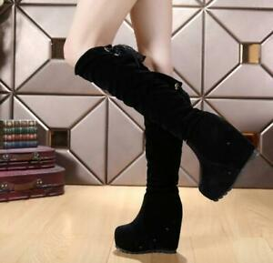 Women's Knee-high Boots Lace Up Strappy Hidden Wedge Heel Boot Platform Shoes