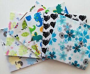"39 ~ 6.5"" Print Flannel Fabric Pre-Cut Quilt Squares Assortment ~ Lot #3"