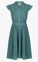Lindy Bop 'Kody' Classic Sage Green Vintage 40s Tea Dress BNWT w Pockets Size 12