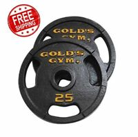 Golds Gym 50 lbs 2 Inch Olympic Plate Set Pair of 25 lb Plates Weight Training