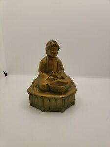 Antique Early 19th Century Bronze Temple of Allah 301 Buddha Statue Temple Women