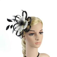 Handmade Women Hair Clip Accessory Wedding Prom Fascinator Hat Feather Headdress