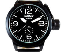 Pilot's Black 46mm Aviator Canteen Automatic Steel Boat Watch Sub Military TW