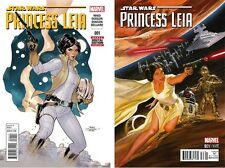 NEW MARVEL STAR WARS  #1 PRINCESS LEIA 1:50 ALEX ROSS VARIANT +REG SET/2 2015