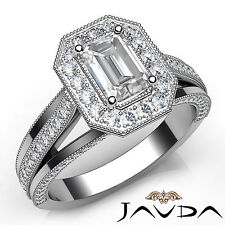 Emerald Diamond Engagement Halo Pave Set Ring GIA F VS1 18k White Gold 1.62Ct