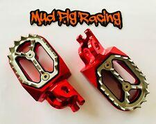 HONDA CR 125 250 CRF 150 250 450 X L R WIDE BILLET FOOT PEGS IN RED