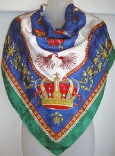 "Amazing Silk Carres du Louvre Paris Scarf, Crowns & Tassels 34"" Red, Blue, Green"
