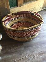 "Vintage Large Bolga Market Basket Handmade Woven Red Blue And Tan 15"" Diameter"